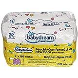 babydream Feucht-Comforttücher New Born parfümfrei 160 Stück 2x 80 Tücher sanfte Reinigung für besonders sensible Neugeborenenhaut, hautidentische Lipide & Vitamin E
