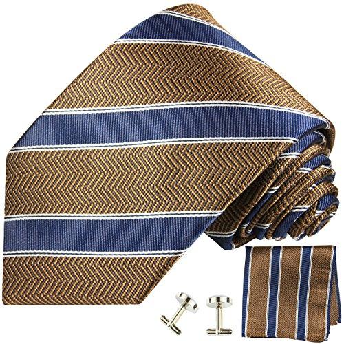 Cravate homme marron bleu rayé ensemble de cravate 3 Pièces ( longueur 165cm )