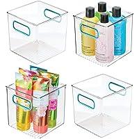 mDesign boite de rangement en plastique avec poignées intégrées (lot de 4) – caisse de rangement transparente et élégant…