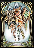 Poster à colorier pour adultes toutes techniques (crayon, aquarelle, peinture acrylique, pastel, écoline, fusain,..). Peinture, dessin, coloriage artistique XL style Art-Nouveau, totem chamane. Papier de qualité aquarelle. 42 x 60 cm. Cadeau pour les artistes coloristes.