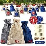 Adventskalender zum Befüllen Basteln Säckchen 24, Jutebeutel Weihnachten Geschenksäckchen Tüten mit Kordelzug, Selber Geschenktüten Stoff Beutel Erwachsene Männer Kinder für Weihnachtskalender