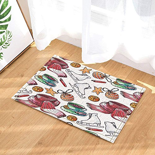 Weihnachtsdekor für Kinder, Aquarell-Skates-Schal mit Schal für Kinder-Badteppiche, rutschfeste Fußmatte für Fußbodeneinstiegs-Inneneingangstürmatte, Badmatte für Kinder, 40 × 60 cm, Badezimmerzubehör