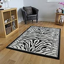"Alfombra Safari Animal Estampado Raya Cebra Blanco y Negro 120cm x 170cm (3 pies 11"" x 5 pies7"")"