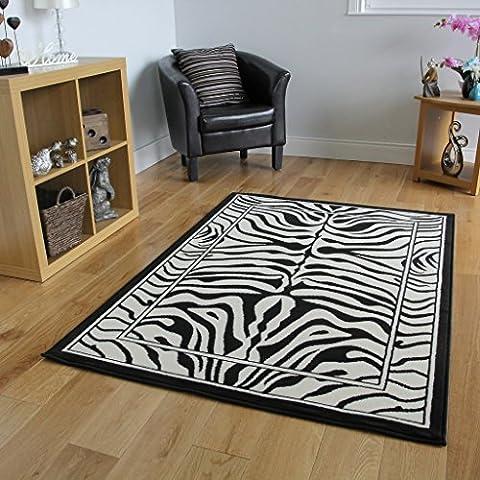 Safari Animal Black & White Zebra Stripe Print Rug 80cm
