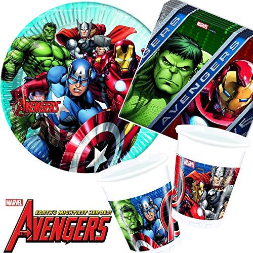 G. Party-Set * Avengers Assemble * mit Teller + Becher + Servietten + Deko | Motto Geburtstag Kinder Kindergeburtstag Marvel Hulk Iron Man Thor ()