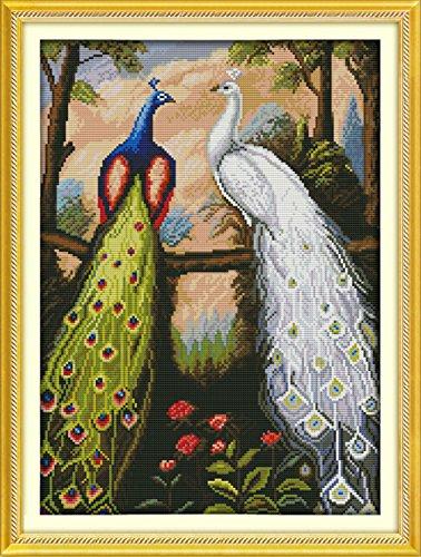 YEESAM Art 14K Bianco Punto Croce, ricamo foresta pavone blu pavone e pavone Gallina 8× 20cm Tela Croce cucito fai da te ricamo Set Bianco Fatto A Mano Regalo Di Natale Kit per punto croce