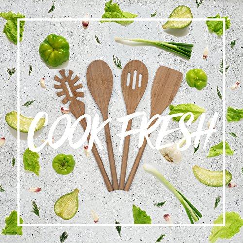 BASIL | Holz Küchenhelfer Set im praktischen 4er Set | Natürliche Bambus Küchenutensilien | Holz Kochgeschirr inklusive Kochlöffel, Pfannenwender, Suppenkelle, Salatbesteck | Küchenbesteck - 7