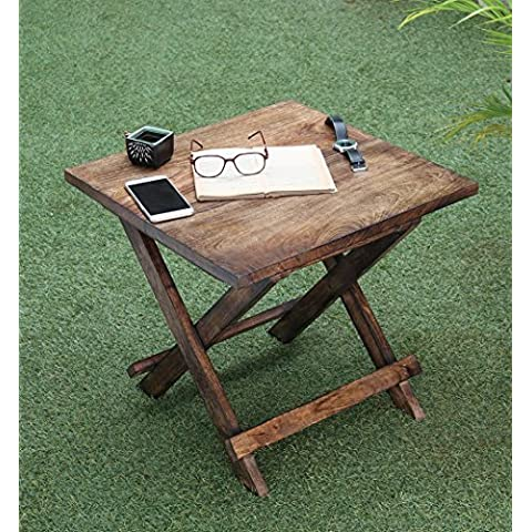 Rústico de madera plegable Mesa de café cuadrada auxiliar Otomano sofá Soporte de mesa portátil salón hogar interior y exterior de los muebles Decor, 50,5x 48cm, color