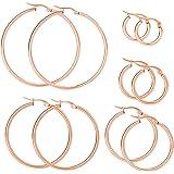 Mannli - Set di orecchini in acciaio inossidabile ipoallergenici, per donne e ragazze, color oro, oro rosa