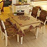 Hctina Mantel rectangular de estilo europeo moderno blonda amarilla floral paño tapa mesa 150x150cm