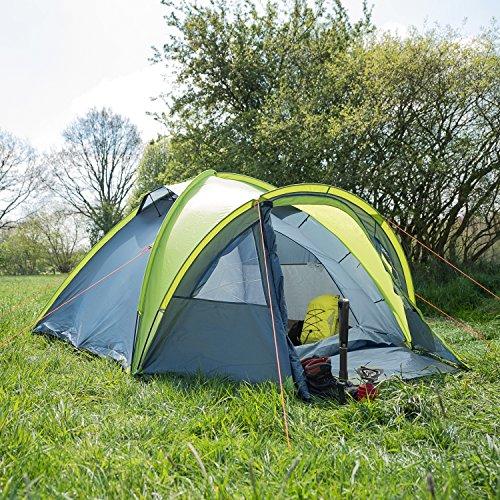 Wanderlust 4 Personen Zelt/Kuppelzelt/Familienzelt/Outdoor Zelt - wasserabweisend - besonders schnell und einfach aufzubauen - Liegefläche 2,40 x 2,10 M - Gewicht ca. 4,3 Kg