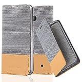 Cadorabo Hülle für Nokia Lumia 640 - Hülle in HELL GRAU BRAUN – Handyhülle mit Standfunktion und Kartenfach im Stoff Design - Case Cover Schutzhülle Etui Tasche Book