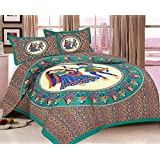 Multicolor Green And Blue Combination Indian Doll Printed Good Looking Cotton Bedsheet With 2 Pillow Cover By Love And Beds