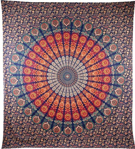 Aunercart Indische Hippie Bohemian Psychedelic Pfau Mandala Wandbehang Floral Gold Betten Tapisserie Queen 213,4 x 228,6 cm, 215 x 230 cms Blau Gold Floral Tapestry
