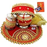 #6: Creativity Creations Karwa Chauth Ethnic Combo 8 Pcs Puja Thali Set