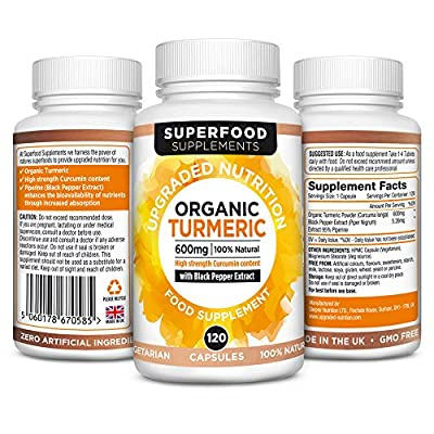 Organic Turmeric Supplement with Piperine 120 veg capsules By Superfood Supplements. High Strength Curcumin and black pepper extract.
