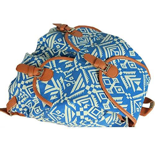 Sammua Elephant Floral Travel Daypack doppelten Schulter Rucksack mit Kordelzug Lederschnallen Schule Rucksack für Mädchen - Weiß Blau