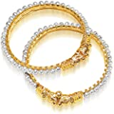 Surat Diamonds Real Freshwater Pearl & Gold Plated Lion Motif Bangles for Women (BGP1)