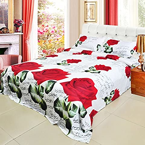Anself 4pcs 3D Printed Bedding Set Bedclothes Red Rose in Full Bloom Queen/King Size Duvet Cover+Bed Sheet+2