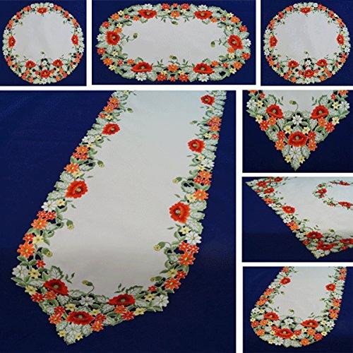 Tischdecke Läufer Mitteldecke in Oval Rund Eckig in der Farbe Creme mit Mohnblumen rot bestickt pflegeleicht 775-44561 Fa.Bowatex (ca. 40 cm rund)