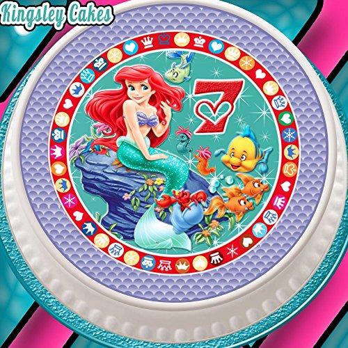 barer Zuckerguss Cake Topper, 19,1cm rund Alter 7Ariel die kleine Meerjungfrau 7. Geburtstag (Kleine Meerjungfrau-kuchen Topper)