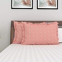 Home Centre Organic Polka Dot Printed Pillow Cover - Set of 2 - 45 x 70 cm (Peach)