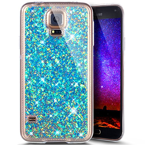 Ukayfe Custodia Galaxy S5, Moda Bling Belle Colorato Argento Lusso Custodia UltraSlim Gel TPU Silicone Morbida Resistente ai Graffi Anti Scivolo Anti-Urto Caso Bumper per Samsung Galaxy S5-Blu