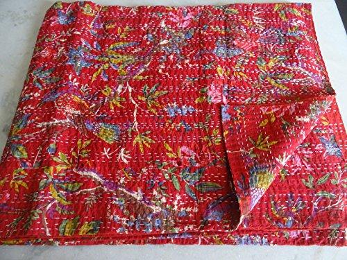 Tribal asiatischen Textilien Hand Made Bird Print King Size Kantha Quilt, Kantha Decke, Bett, King Kantha Tagesdecke, Bohemian Betten Kantha Größe 228,6x 274,3cm 031 (Für King-size-bett Quilts)