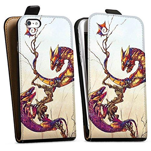 Apple iPhone X Silikon Hülle Case Schutzhülle Drachen Fabelwesen Traumwelt Downflip Tasche schwarz
