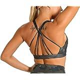 icyzone Sujetador Deportivo Yoga Diseño de Tirantes Cruzados en la Espalda Ejercicio Fitness Ropa Interior para Mujer