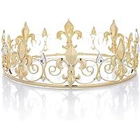 SWEETV Kristall Männer Kronen Tiara Strass Königs Krone Tiara Diadem Kopfschmuck für Feier Party, Gold