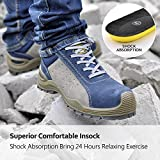 Safety Shoes for Men Steel Toe Work Boots- L7295 Lady Lightweight Slip on Wide Fit Working Safety Shoes Trainers