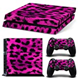 PlayStation 4 Designfolie Sticker Skin Set für Konsole + 2 Controller – Leopard Pink
