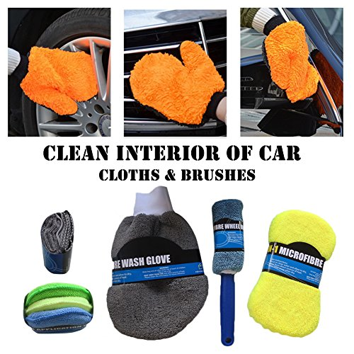 Auto waschen Reinigung mit Mikrofaser-Handtücher 9pcs/Set mit Schaumstoff mit Auto Rad-Mikro-Faser-Set-Tasche mit-Tücher Pinsel-Set, weiche Multifunktionale
