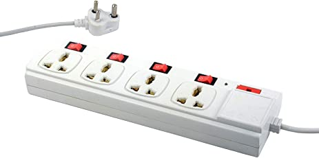 ELV Extension Board 6 Amp 4 Plug Points with 4 Individual Switches and One LED Indicator (3.35 Meter) - Pearl White