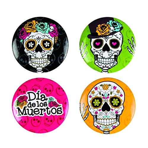 Amakando Tag der Toten Anstecknadeln - 3 cm - 4 STK. Sugar Skull Buttons Partydeko Totenfest Mexiko Halloween Ansteckpins La Catrina Kostümzubehör Mexikanische Totenmaske 4 STK. Sugar Skull Buttons -