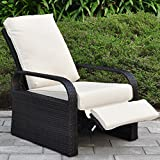 All Weather Wicker Chair Sofa - Adjustable Patio Garden Recliner with Cushions - UV/Fade/Water/Sweat/Rust Resistant - Easy to Assembly (Brown Wicker + Beige Cushion)