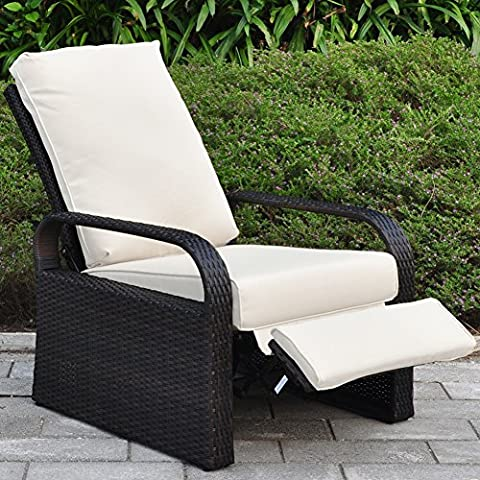 All Weather Wicker Chair Sofa - Adjustable Patio Garden Recliner with Cushions - UV/Fade/Water/Sweat/Rust Resistant - Easy to Assembly (Brown Wicker + Beige