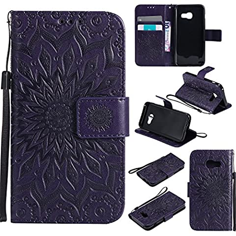 For Samsung Galaxy A3 2017 Case [Purple],Cozy Hut [Wallet Case] Magnetic Flip Book Style Cover Case ,High Quality Classic New design Sunflower Pattern Design Premium PU Leather Folding Wallet Case With [Lanyard Strap] and [Credit Card Slots] Stand Function Folio Protective Holder Perfect Fit For Samsung Galaxy A3 2017 -