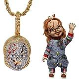Gioielli Moca Hip Hop Ciondolo Chucky orribile Catena ghiacciata Collana placcata in Oro 18 carati per Uomo Donna