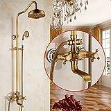 Stile europeo Tutti i pulsanti di set doccia in rame possono sollevare su e giù il rubinetto termostatico del bagno nero nero, O