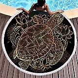 Schildkröte, die rundes Badetuch, bewegliche Picknickdecke, Art und Weiseyogamatte, Tischdecke, Sporttuch, Quastenbadetuch EIN Sonnenbad nimmt