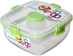 Sistema Salat to Go 1,1l mit Besteck, Trenneinsatz und Dressingbehälter