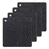 AVANA siliconen onderzetters (set van 4) premium pannenonderzetters multifunctioneel hittebestendig pannenlappen vaatwasmachinebestendig antislip honingraatpatroon - zwart
