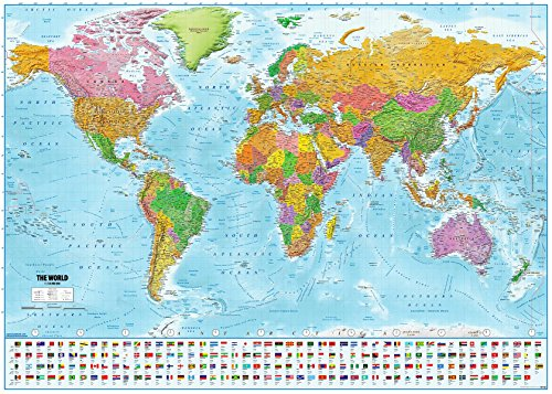 Póster XXL Mapa mundo banderas - Versión