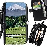 Graphic4You Japan Mountain Fields Postkarte Ansichtskarte Design Zipper Brieftasche mit Strap Hülle Tasche Schale Schutzhülle für LG X Cam