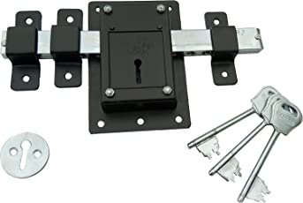 RAMSON 10 Chal Iron Door Lock with 3 Keys For High Security Operated From Both Side Of the Door (Brown_141)
