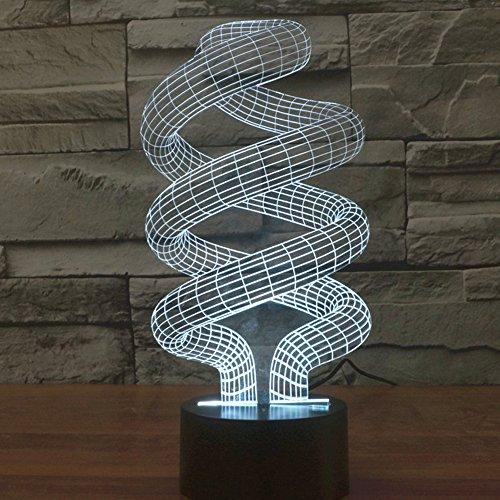 3d ilusión lámpara jawell luz nocturna en espiral 7colores cambiantes Touch USB...