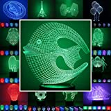 3D Lampe 3D Leuchte 3D LED Stimmungslicht. 7 Farben - 81 verschiedene Motive, hier Fisch ca.18x16cm inkl.Sockel - 3D Illusion Dekolicht mit USB Anschluß und 220V USB Netzteil