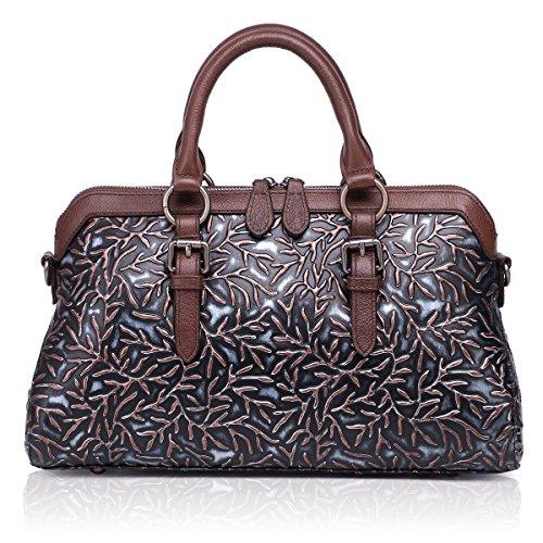 APHISONUK Frauen Echtes Leder Handtasche Große Kapazität Tragetaschen Geprägte Design Umhängetasche Für Damen Geschenk Schwarz - Importierte Designer-taschen